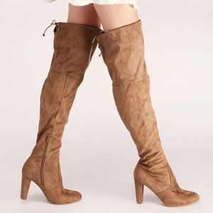Thigh High Brown Suede Heeled Boots